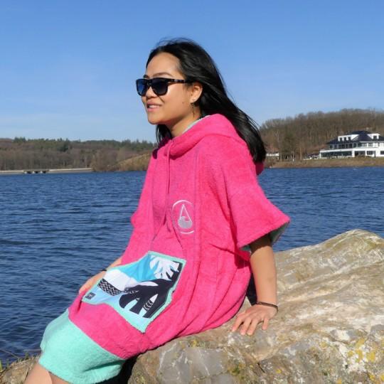 Pink Wave Beach Poncho