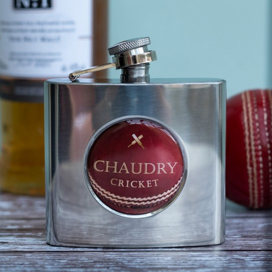 Personalised Cricket Ball Hip Flask