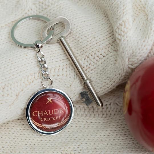 Personalised Cricket Ball Keyring
