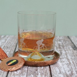 Etched Glass Cyclist Tumbler