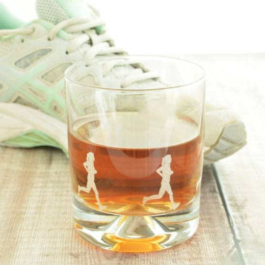 Etched Glass Female Running Tumbler