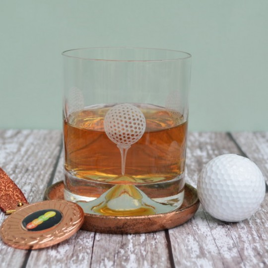 Etched Glass Golf Tumbler