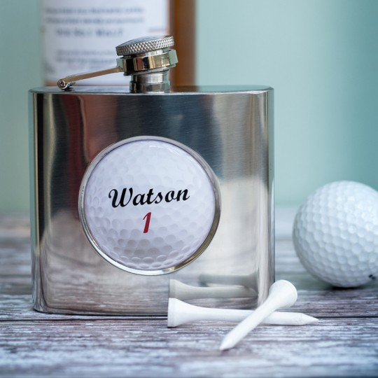 Personalised Golf Ball Hip Flask