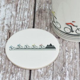 Mountain Biker Ceramic Coaster