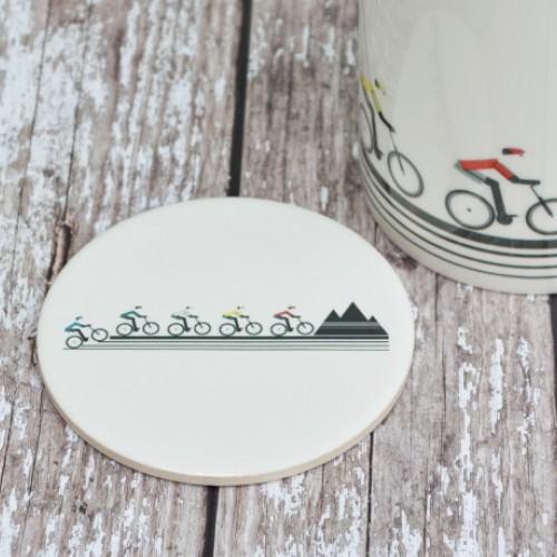 Mountain Biker Ceramic Coaster