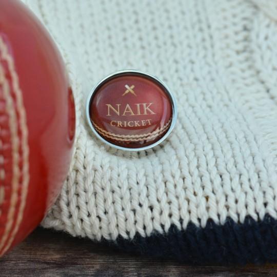 Personalised Cricket Ball Lapel Pin Badge