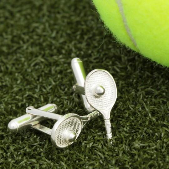 Solid Silver Tennis Cufflinks