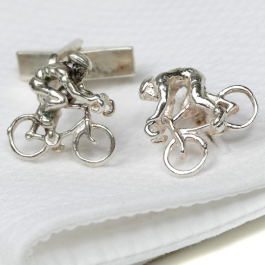 Solid Silver Cyclist Cufflinks