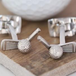 Rhodium Golf Club and Ball Cufflinks