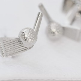 Rhodium Golf Club and Ball Cufflinks