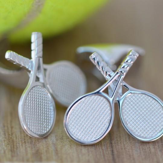 Rhodium Tennis Racquet Cufflinks