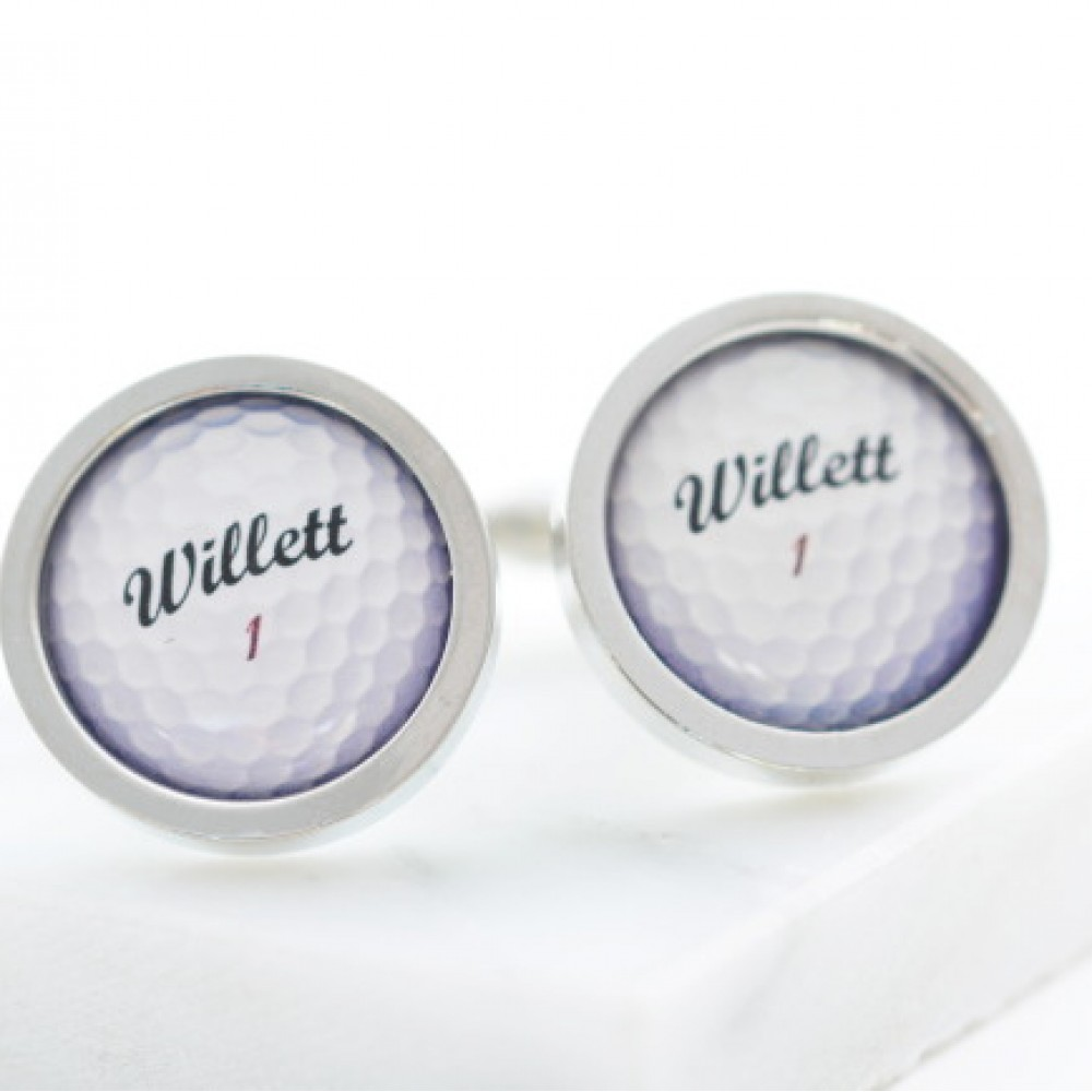 Personalised golf ball cufflinks for Golf buflings