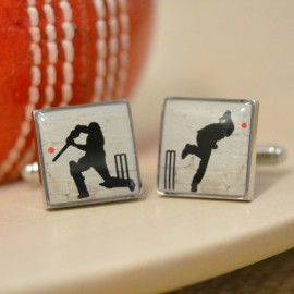 Enamel Cricket Cufflinks
