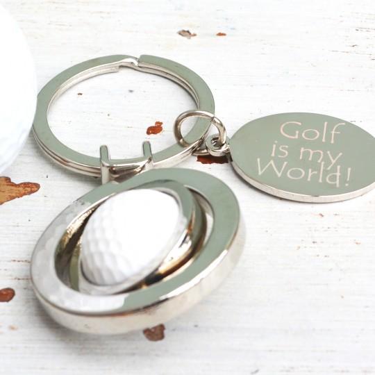 Personalised Spinning Golfball Keyring