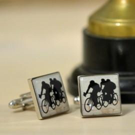 Enamel Cyclist Cufflinks