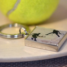 Enamelled Tennis Keyring