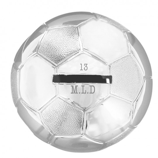 Personalised Silver Plated Football Money Box