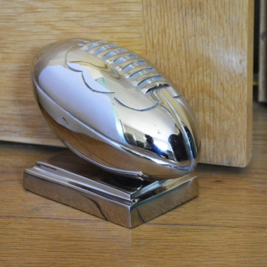Rugby Ball Door Stop Nickel Plated