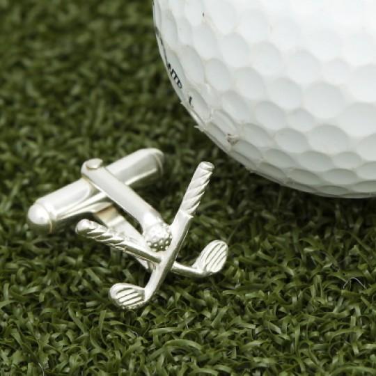 Solid Silver Golf Club Cufflinks