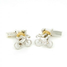 Yellow Jersey Silver and Gold Cyclist Cufflinks