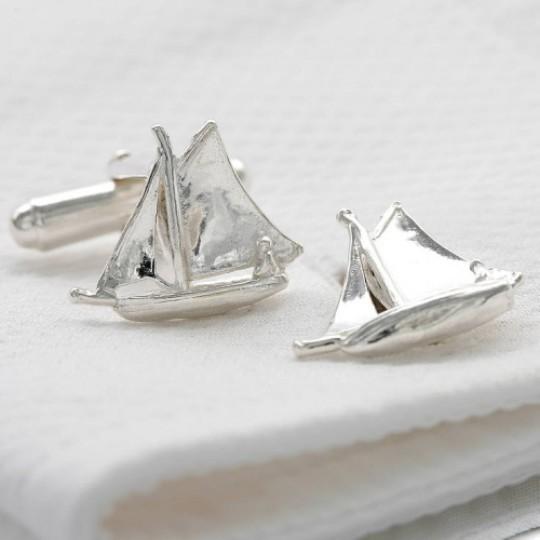 Solid Silver Sailing Boat Cufflinks
