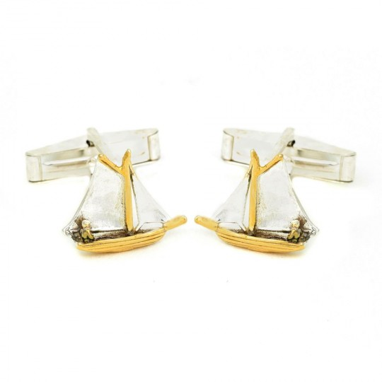 Sailing Boat Cufflinks - Silver and Gold