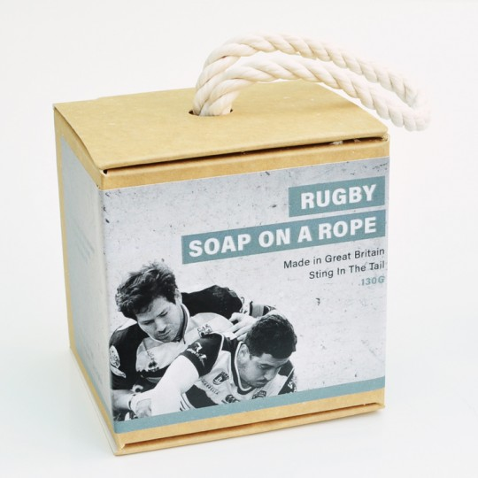 Rugby Ball Soap on a Rope
