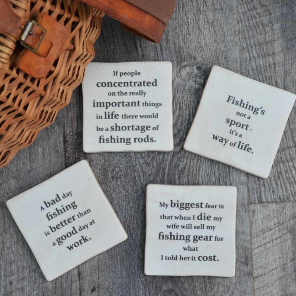 8b0248dc9c55e Fishing Quotes set of Coasters