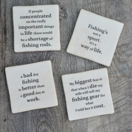 Fishing Quotes set of Coasters