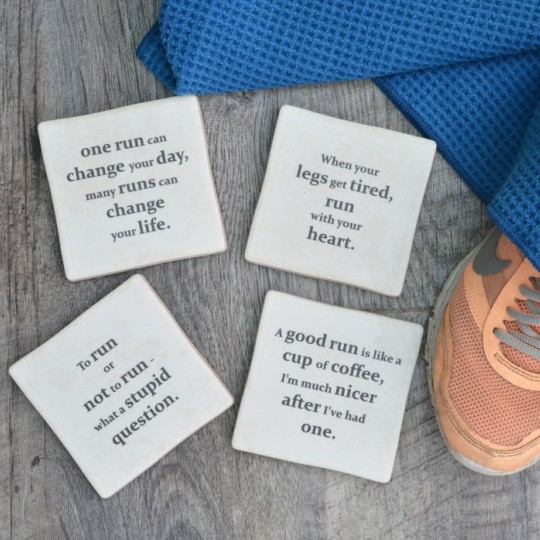 Running Quotes set of Coasters