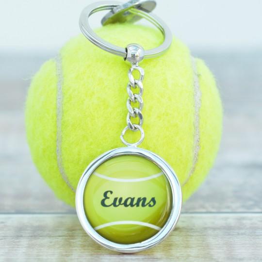 Personalised  Name Tennis Ball keyring