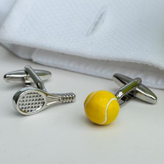 Tennis Raquet and Ball Cufflinks