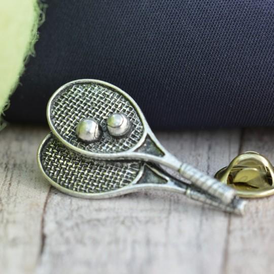 Tennis Raquets Pewter Lapel Pin Badge