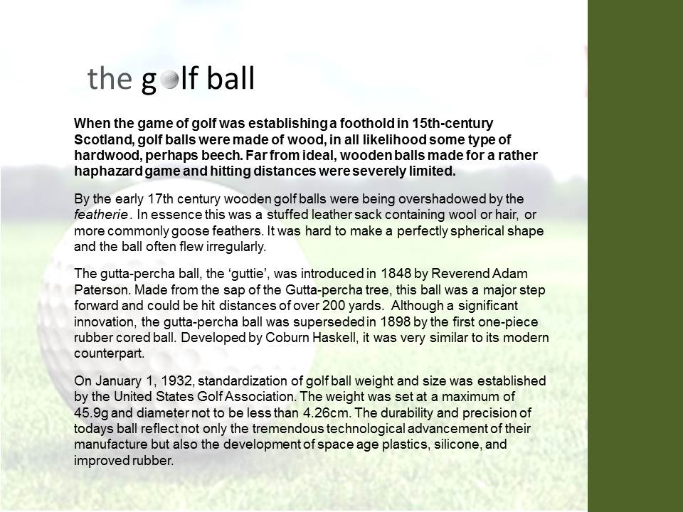 Origins of the golfball